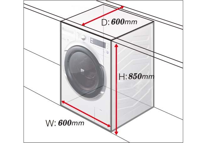 ابعاد فیزیکی لباسشویی 9 کیلو هیتاچی