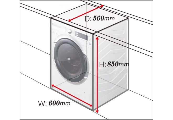 ابعاد فیزیکی لباسشویی مشکی هیتاچی W70PV